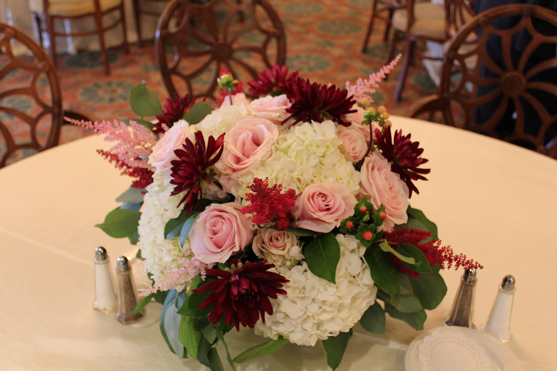 Pink and Burgundy Dahlias: Overbrook Golf Club, Tish Long