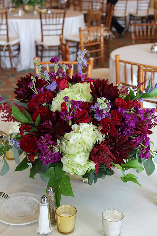 Purple and Red: Overbrook Golf Club, Tish Long Wedding Flowers