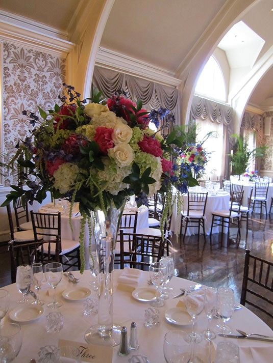 Bold Pink and Green and Blue: Merion Cricket Club, Tish Long Wedding Flowers