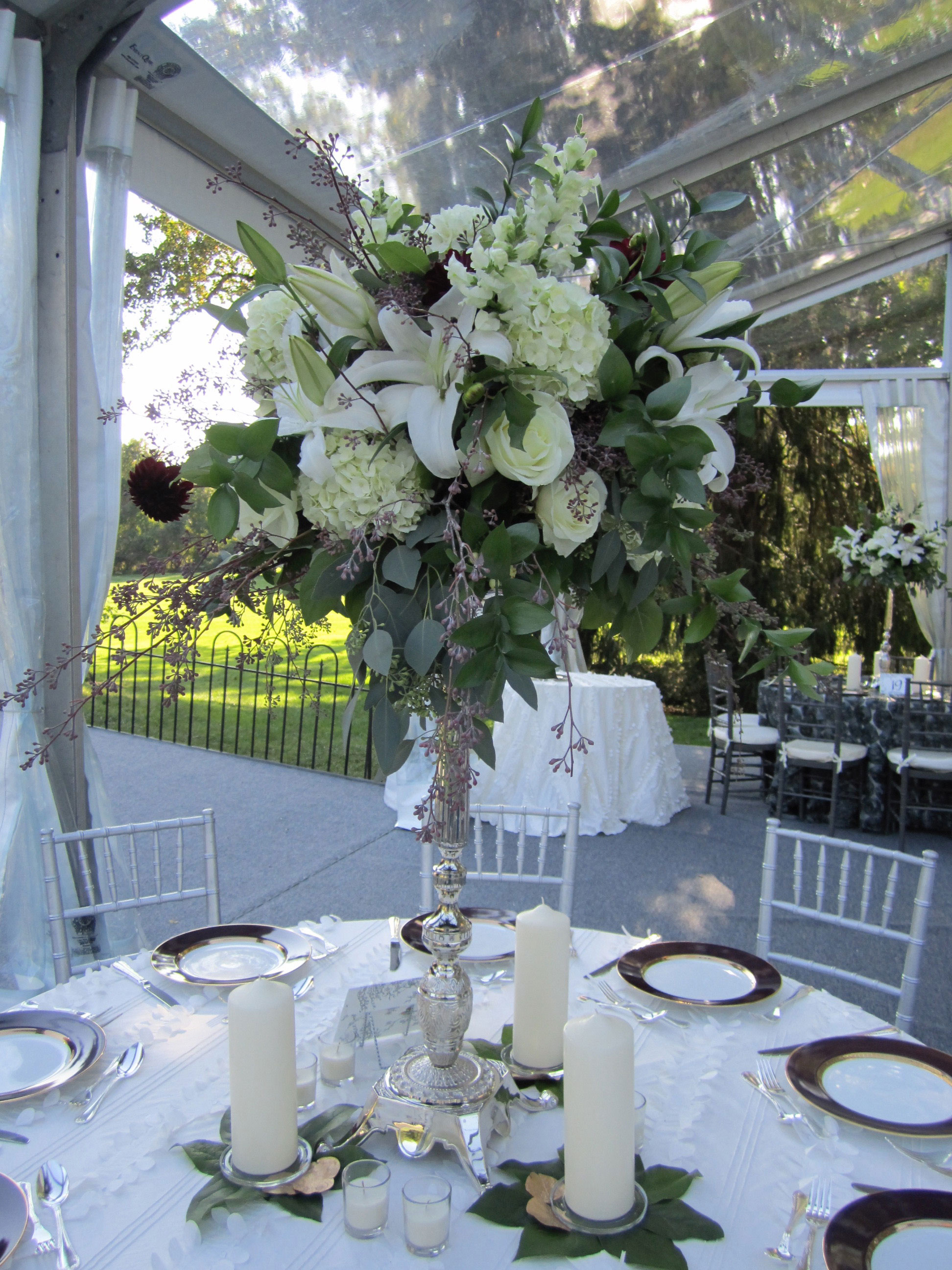 Purple and Cream Calla Lilies: Private Home, Tish Long Wedding Flowers