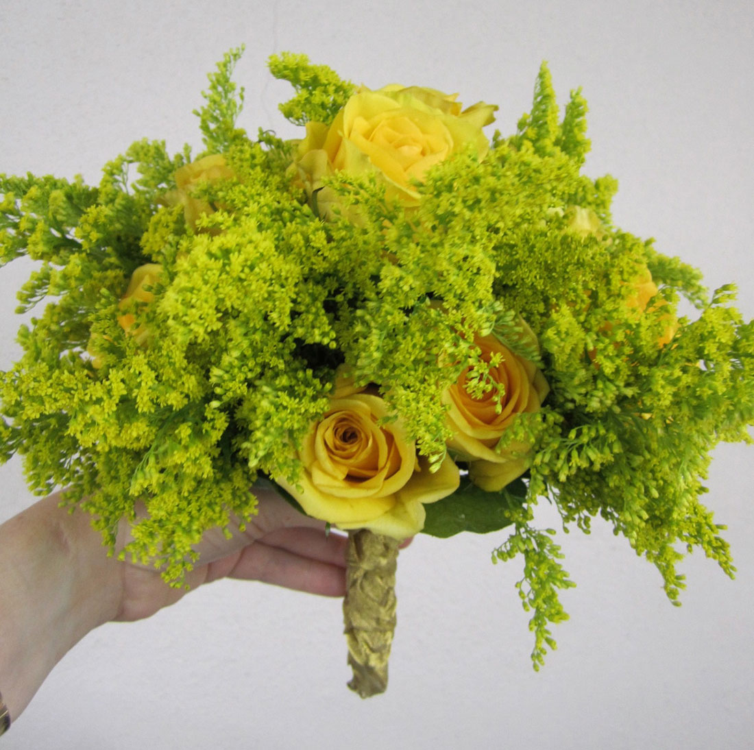 Yellow and Green Bouquets: Private Home, Tish Long Wedding Flowers