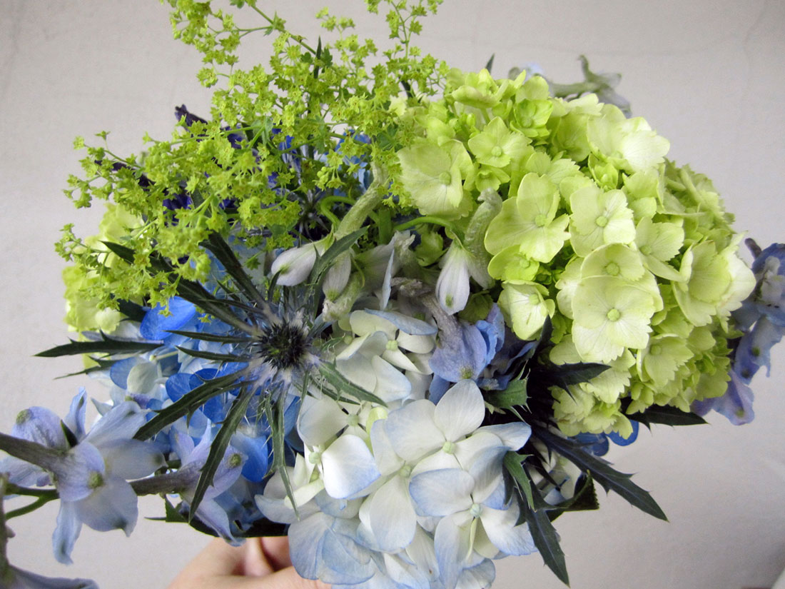 Blue and Green Bouquets: Private Home, Tish Long Wedding Flowers