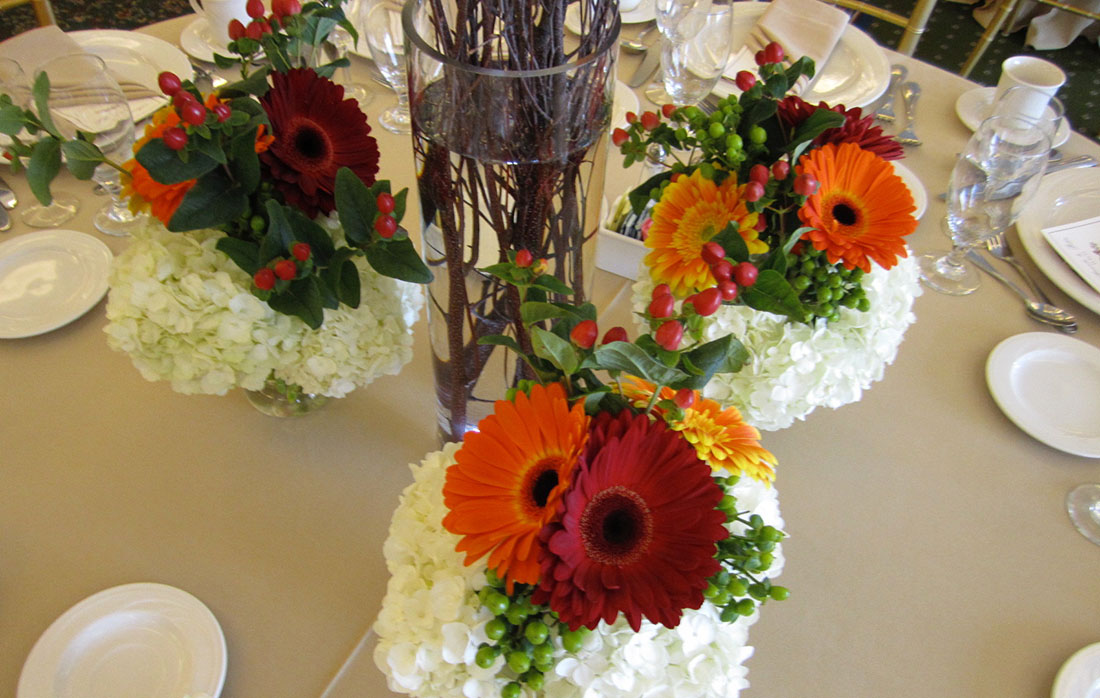 Red and Orange Gerberas: Waynesborough Country Club, Tish Long