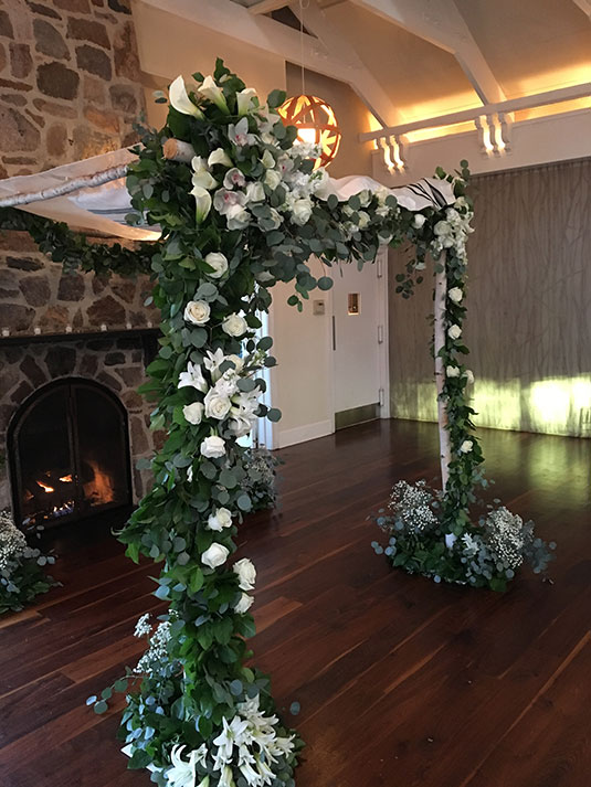 White and Green Chuppah: Pomme Radnor, Tish Long Wedding Flowers