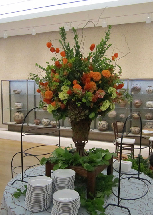 Orange and Green: Barnes Foundation, Tish Long Wedding Flowers