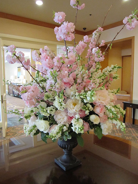 Pale Pink Peonies and Cherry Blossom: Four Seasons Hotel, Tish Long
