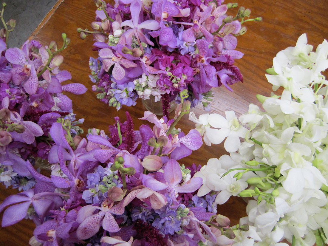 Purple Orchid Bouquets: Private Home, Tish Long Wedding FlowersPurple Orchid Bouquets: Private Home, Tish Long Wedding Flowers