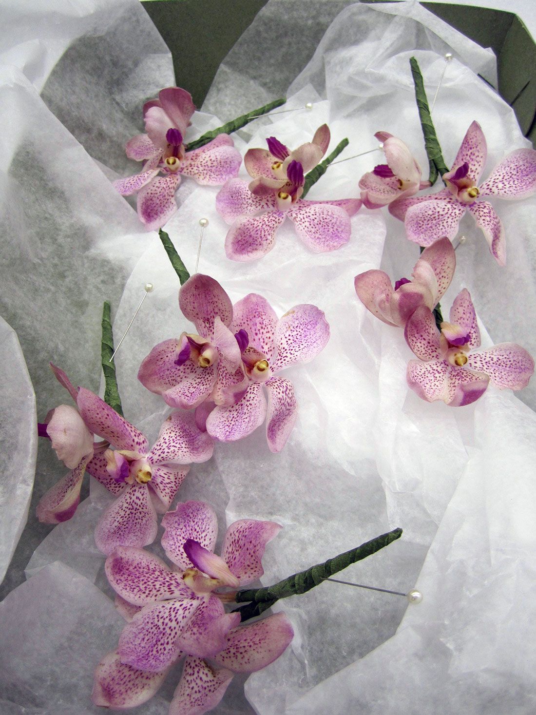 Purple Orchid Bouquets: Private Home, Tish Long Wedding Flowers