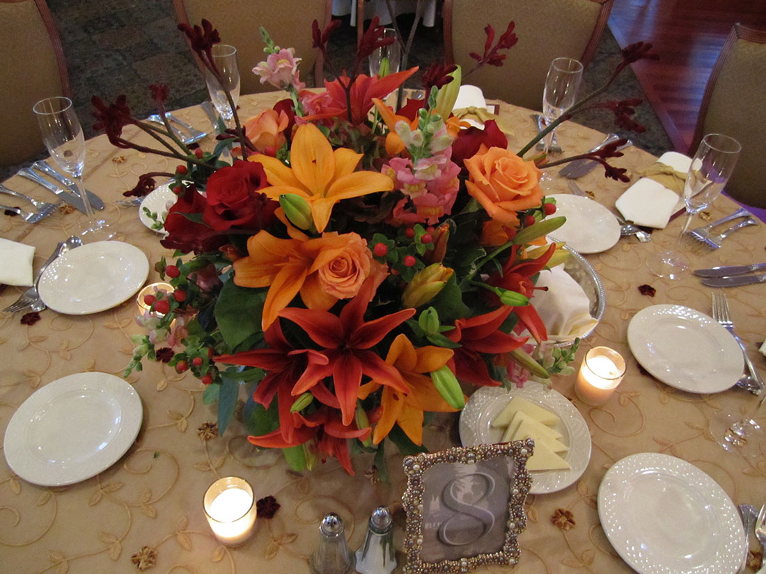 Red and Orange Lilies: Bluebell Country Club, Tish Long